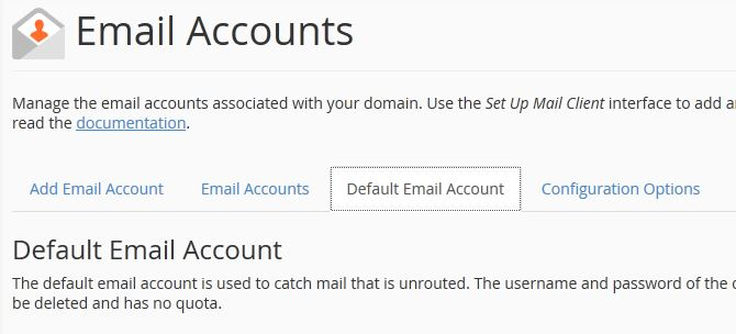 Default Mail Account Tab